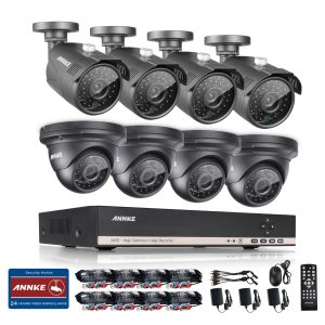 Annke 8CH AHD 720P DVR with 1.3MP 4 Bullet + 4 Dome CCTV Cameras